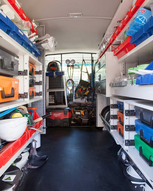 Inside view of the Bluegum Electrical Van