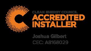 Clean Energy Council Accredited Installer – Joshua Gilbert CEC: A8168029